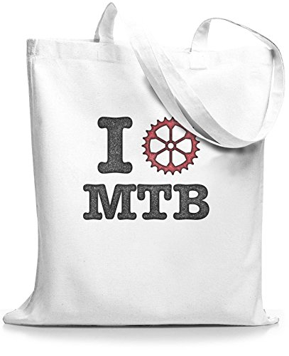 StyloBags Jutebeutel / Tasche I love MTB vintage Weiß