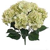Ppower 7-cabezas ramo de flores hortensia flor artificiales, Decoración de la boda (Verde claro)