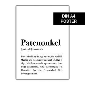 Patenonkel Definition DIN A4, Geburtstagsgeschenk Onkel, Taufe Geschenk, Poster schwarz weiß, Familie Geschenk, Pate von Kind