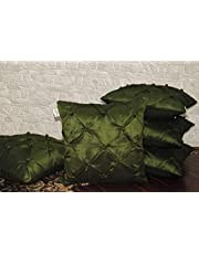 ZIKRAK EXIM Poly Dupion Smoking Large Cushion Covers (Green, 24 x 24 inches) - Set of 5