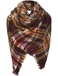 d2ffaba8c8ce foulards, Tefamore Femmes châle en cachemire automne écharpe en laine à  carreaux écharpe