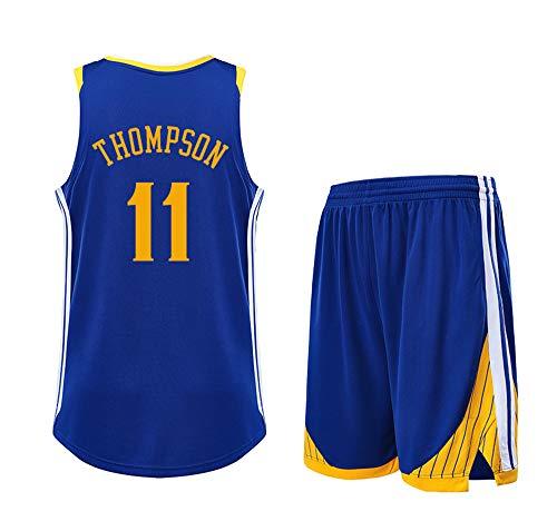 Ist EIN Geschenk für NO.11 Klay Thompson Golden State Warriors Fans Jungen Mädchen Basketball Jersey Sets Basketball Uniformen Sommer Weste Shirts + Shorts Casual-Blue-XL