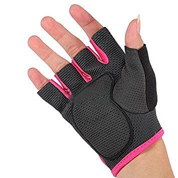 TOOGOO(R) neue Sportart Radfahren Fitness Gym halbe Finger-Handschuhe Gewichtheben uebung Training - schwarz mit rotem Rand S
