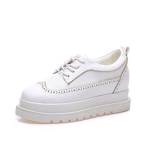 LvYuan Scarpe bianche delle donne / cuoio di brevetto / ufficio & carriera / tacco piatto / comodità casuale moda / scarpe flatform / walking scarpe da tennis Lace-up White