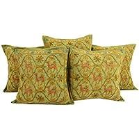 Home Decor Verde 16 da 16 morbide federe Set di 5 Camel cotone Cushoin copertura d'avanguardia ricamato del cuscino Shams By Rajrang