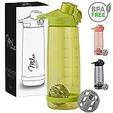 Milu Trinkflasche Eiweißshaker Sportflasche Wasserflasche - 800ml 2in1 Funktion - Auslaufsicher | Protein Shaker | Kindertrinkflasche (Grün)