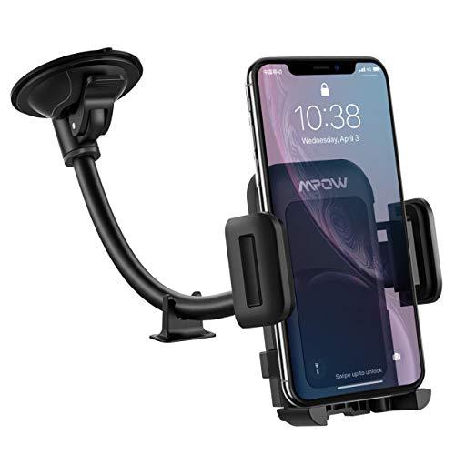 [versione aggiornata] mpow porta cellulare da auto, supporto smartphone per auto per parabrezza, regolabile a 360 gradi e antiscivolo, porta cellulare per smartphone e gps dispositivi