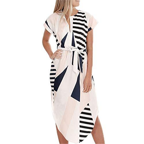 LitBud Frauen Sommer Kleider für Frauen Damen Kurzarm Casual Arbeit Party Belted Shift Midi Tunika Kleid Aprikose Größe 32 34 S - Damen Abend-formale Kleider