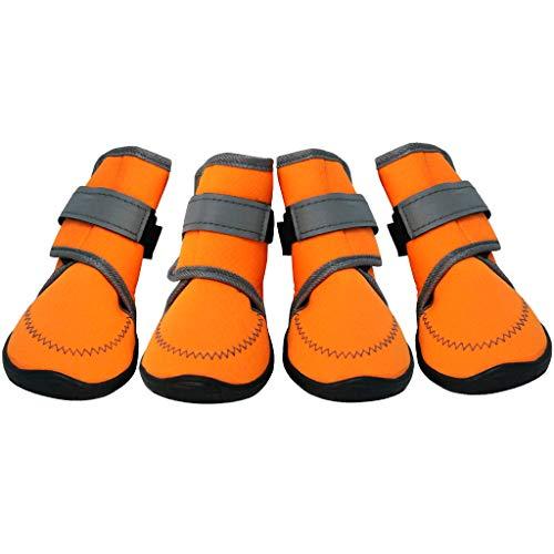 Dog Shoes Pfotenschutz - Hundeschuhe Hundestiefel Haustier Schuhe Anti-Rutsch Atmungsaktiv Mit Klettverschluss für klein Mittlel und Große Hunde Rot Orange