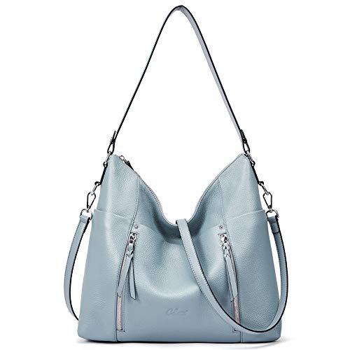Handtaschen Damen Weich Echtleder Designer Henkeltasche Groß Tote Fashion Hobo Taschen blau (Hobo Tote Fashion)
