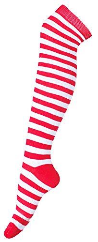 Funny Fashion Ringel Kniestrümpfe für Erwachsene - Rot Weiß - Tolle Overknees Socken zu Clown Zwerg Wichtel Weihnachten Kostüm - Festival Karneval Mottoparty Junggesellenabschied