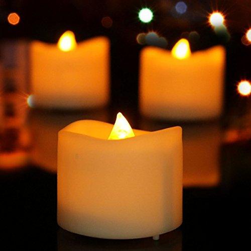Aupower 2per led senza fiamma candele, candele di natale luci led luci tee, tee elettrica per halloween, natale, party, bar, matrimonio (flicker giallo)