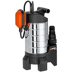 Bomba de aguas sucias 20000 inox Premium de GARDENA: bomba sumergible, caudal 20000l/h, motor de condensador silencioso y sin mantenimiento de 1050W, bomba duradera con disyuntor térmico (1802-20)