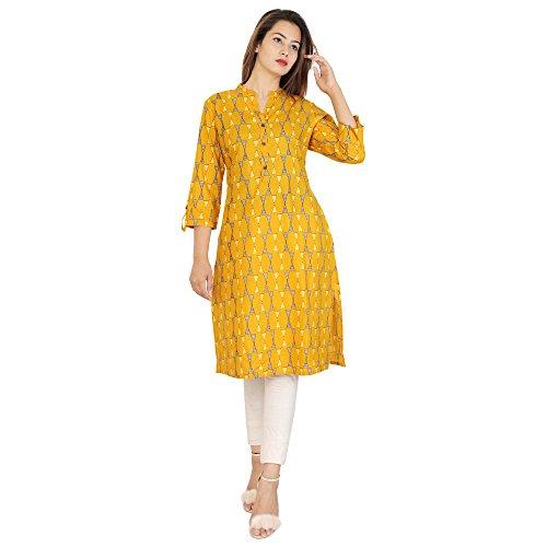 RAMRATH Women's Cotton straight Printed Kurti (Mustard_Medium)