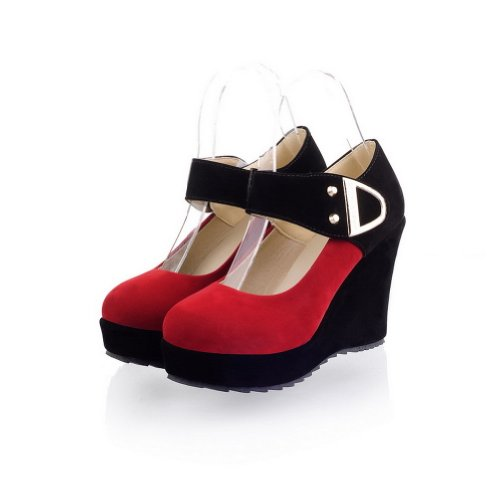 Adee , Sandales Compensées femme Rouge - rouge