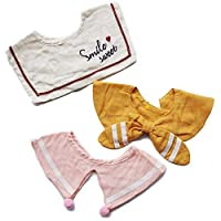 3 PCs Baby Cotton Bibs,Adjustable Size BibSoft and Absorbent Cloth for Infant Toddler Boys & Girls for Teething and Drooling