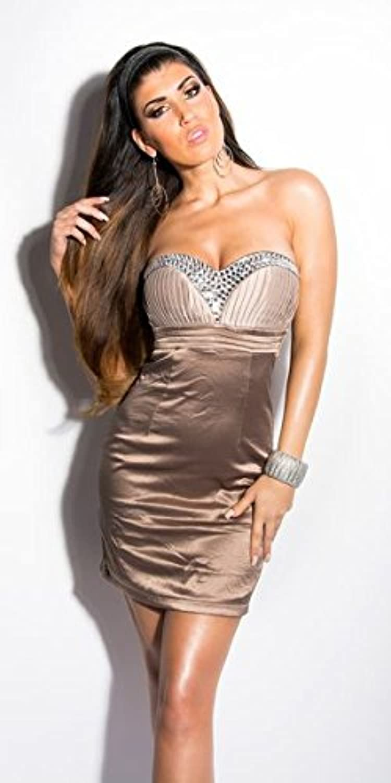 ATELIER DEL RICAMO Abito Donna Donna Donna - Vestito con STRASS-40-Marronee  e447ea 3d81374cfff