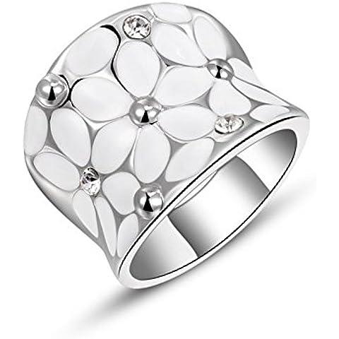 Bling Joyería Mujer 18ct Oro Rosa/Chapado en platino gota de aceite Bandas de flores
