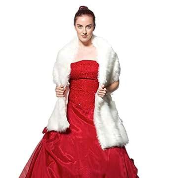 atopdress@170cm Long Hair Faux Fur Wedding Shawl Stoles Faux Fur Warm Dress Shawl (200cm X 45cm, Off white)