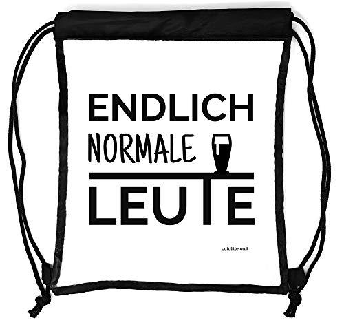 clapur Rucksack durchsichtig, transparenter Turn-Beutel für Festival, Konzert, Party Clear Secure Safe Bag Aufdruck: Endlich Normale Leute