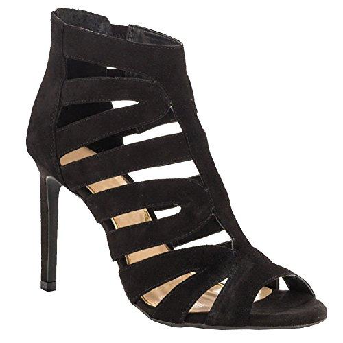 Kolnoo Damen Handgemachtes reales Pics Mode Schuhe High Heel Cut-out Party Büro Kleid Sandalen Black