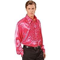229a4b310084 NET TOYS Camicia blusa raso fucsia anni 70 costume febbre sabato sera  ballerino discoteca - M