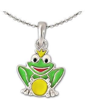 CLEVER SCHMUCK-SET Silberner Anhänger kleiner Frosch 11 mm mit Krone und Kugel grün gelb bunt lackiert glänzend...