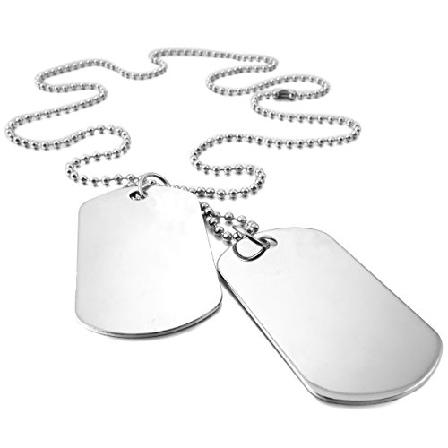 MunkiMix 2 PCS Alloy Pendant Necklace Army Double Dog Tag 27 Inch Chain Men,Women ,Chain