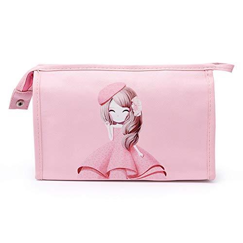 Sac de Maquillage Sac à Main Réutilisable Sac Voyage Durable de Cosmétiques de Stockage de Bande Dessinée pour Femme Fille(Rose)
