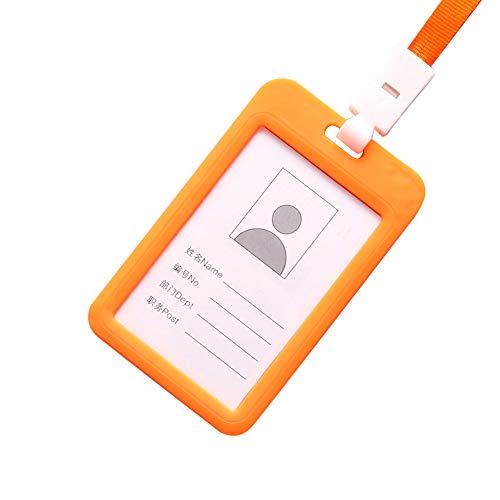 Elsta_ Accessoires Elsta tragbar Bunt Mitarbeiter Kunststoff Ausweis Name des Halters Etikett Lanyard Hals Gurt Arbeitskarte Arbeitskarte Hängende Nylon Ansatz Schnur Schnur Halter Lanyard(Orange) -