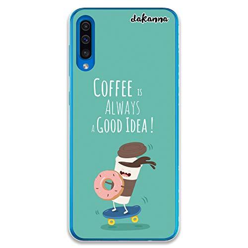 dakanna Case Hülle für Samsung Galaxy A50 | Essen, Kaffee und Donut im Roller | Transparent Silikon TPU Schutzhülle (Roller Essen)
