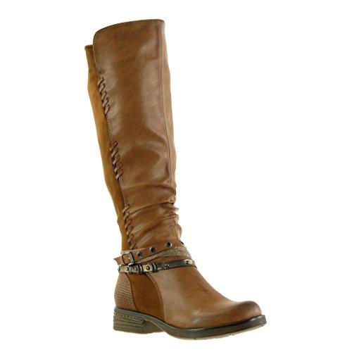 Angkorly - Scarpe Da Donna Stivali - Stivali Da Equitazione - Cavalier - Biker - Bi-materiale - Intrecciato - Multi-briglia - Borchiato - Tacco Con Borchie Tacco Alto 3.5 Cm Cammello