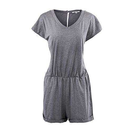 SUNNOW® Elegant Damen Jumpsuit Playsuit V-Ausschnitt elastisch Hohe Taillen Casual Ärmellos Overall Strand Hose Sommer (S, EU 34, Grau +1)