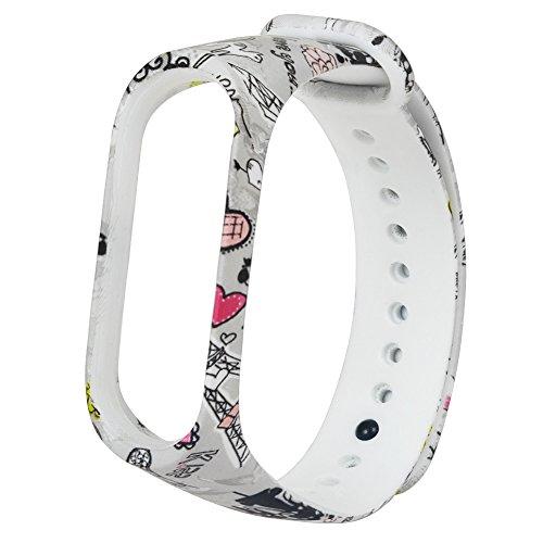 UNMIZ Ersatzband Mode weichem Silikon Ersatz Armband Handschlaufe für Xiao Mi Band Farben Uhrenarmband(AS Show)