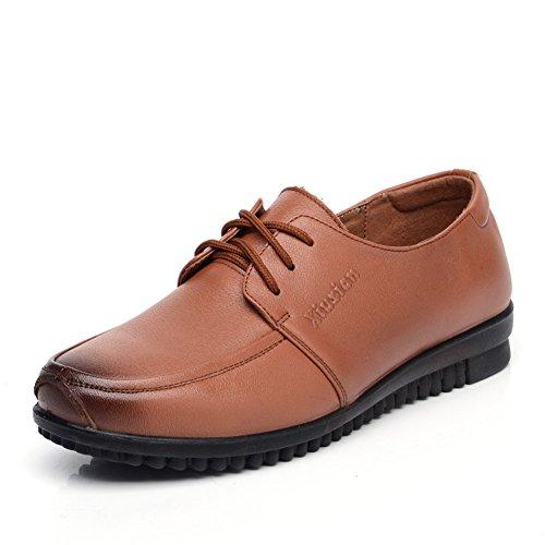 Size madre con scarpe basse/singoli pattini/Medio fondo morbido femminile e vecchio invecchiato scarpe da donna/Donne di mezza età casuale scarpe di cuoio-D Lunghezza piede=23.8CM(9.4Inch)