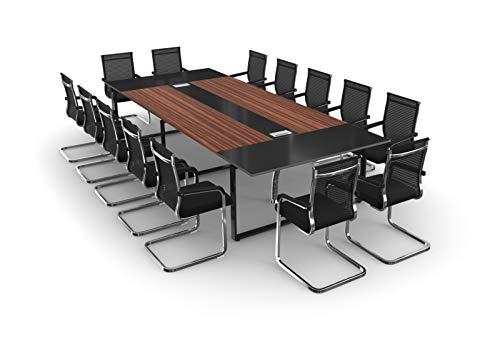 TOPREGAL Besprechungstisch Meetingtisch Konferenztisch Set ANJA mit Stühlen für 10-14 Personen (ANJA360: B360 x H75 x T150cm mit 14 Stühlen)
