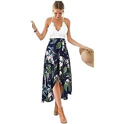 Blooming Jelly Femmes Halter Neck Deep V Asymétrique Floral Dress