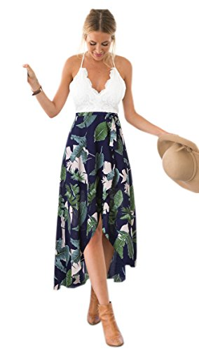 Blooming Jelly Women Halter Neck Deep V Abito Asimmetrico Floreale Vestito
