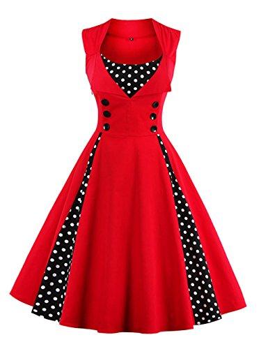 VKStar® Vintage 50er Jahre Rockabilly Kleid Ärmellos Polka Dots Kleid Retro Swing Elegantes Abendkleid mit Knöpfe Rot XL
