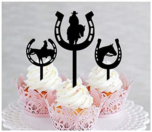 Topper, Jahrestag, Hochzeit, Geburtstag, Party, Cowboy, Cowgirl, Westernhufeisen-Silhouette, 10 Stück ()
