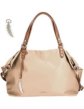 Große Shoppertasche von Waipuna aus hochwertigem Nylon, Schultertasche mit Schlüsselanhänger, Handtasche mit schönen...