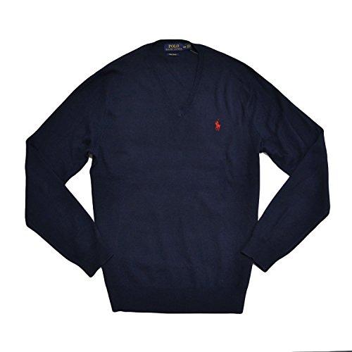 Ralph Lauren Polo-Shirt V-Ausschnitt Pima Baumwolle Pony Sweatshirt mit Logo Marineblau