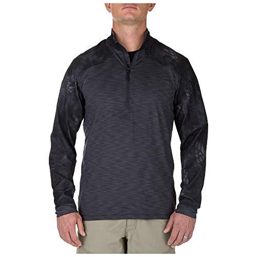 5.11 Tactical Herren Rapid Half Zip Long Sleeve Shirt, feuchtigkeitsableitend, geruchskontrolle, Style 72444, Herren, anthrazit, Large -