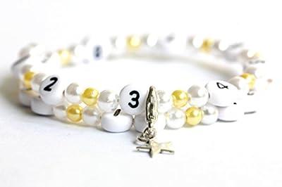 Bracelet d'allaitement de couleur blanc et jaune en acrylique