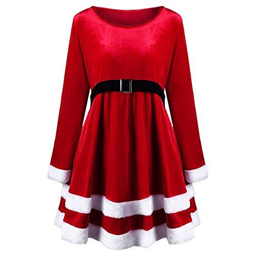 Stilvoller und neuartiger Rock, Weihnachten, Übergröße, Samt, Lange Ärmel, Trendiges Weihnachtsmann-Kostüm, Kleid, für jeden Tag Abendkleid, Party, Modenschau, rot, XXX-Large (Weihnachten Übergröße Kostüm)