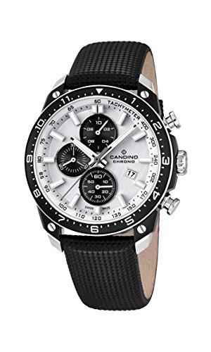 Candino Herren Quarz-Uhr mit weißem Zifferblatt Chronograph-Anzeige und schwarzes Lederband C4520/1