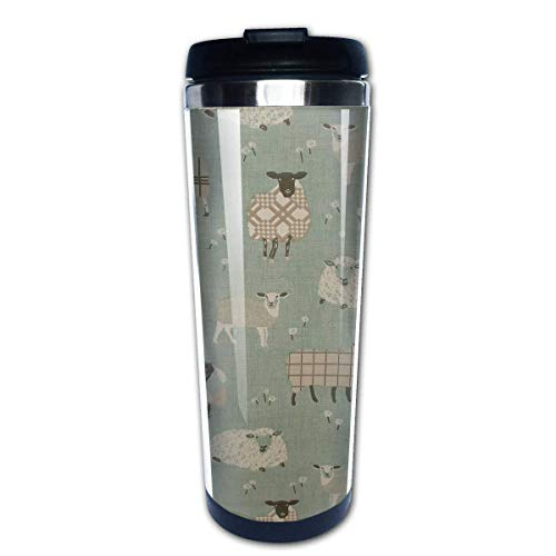 QIUJUAN Sheep Fashion Travel Mug 400 Ml Portable Coffee Travel Mug For Men Women Stainless Steel Tumbler Cup (Keurig Portable)