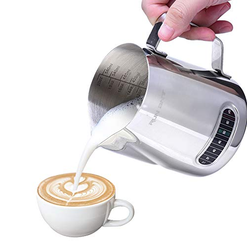 RUN ANT Jarra de Leche, Acero Inoxidable Leche Espuma Jarra con Termómetro para café, Cappuccino, Espresso, Latte Art (600ml/20oz)