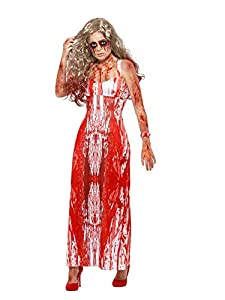 Smiffys 47573M - Disfraz de reina de baile sangriento, para mujer, color blanco y rojo, talla M
