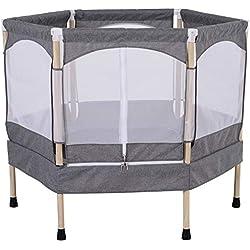 Homcom Trampoline Enfant dim. 126L x 109l x 98H cm Filet de sécurité Porte zipée Couvre-Ressorts Inclus Gris